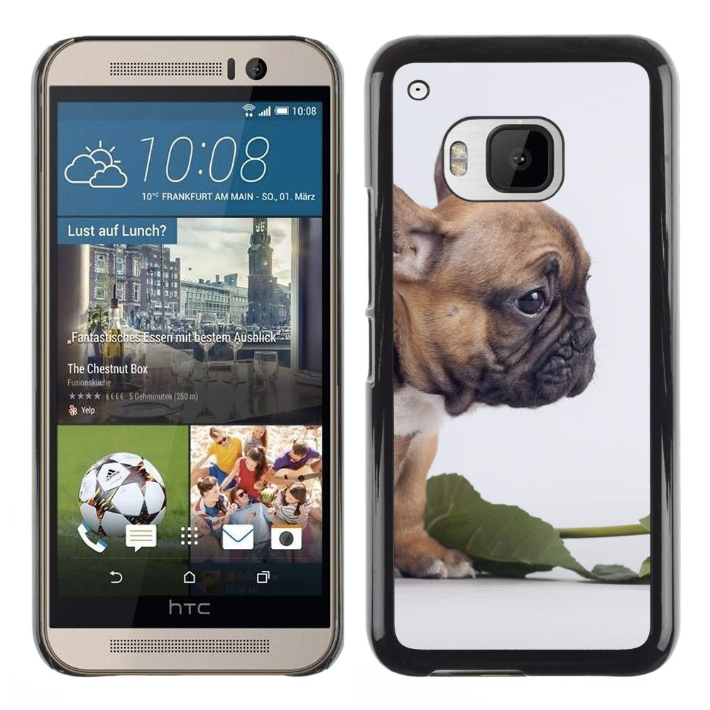 Snap On Hard PC Back Shell Case For HTC One M9-Pug Valentines Flower Rose Puppy Small(M9-3005218)(China (Mainland))