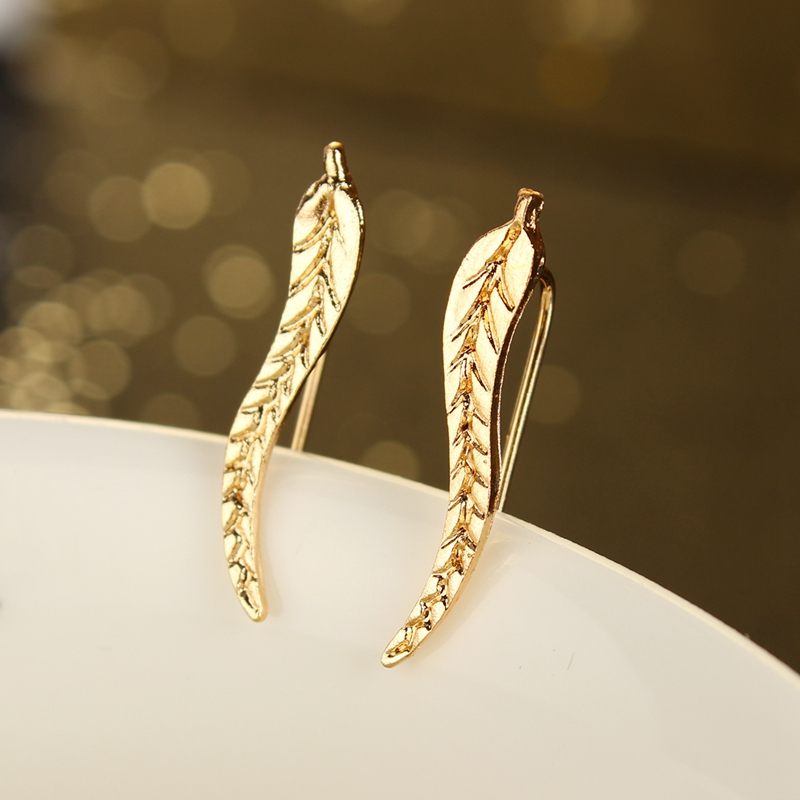 New Fashion Ear Sweep Wrap Silver & Gold Ear Climber Leafs Ear Clip Cuffs Earrings for Women Jewelry Brincos(China (Mainland))