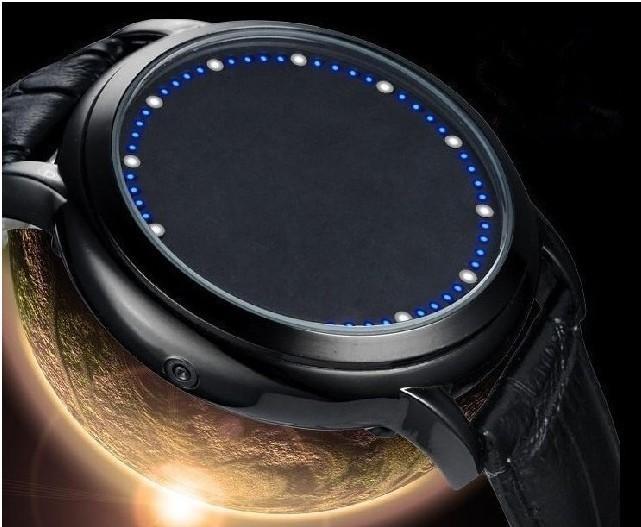 2015 Fashion Touch Screen Wrist Watch Leather Strap Touch Screen Led Denim Electronics Watch Relojes Men