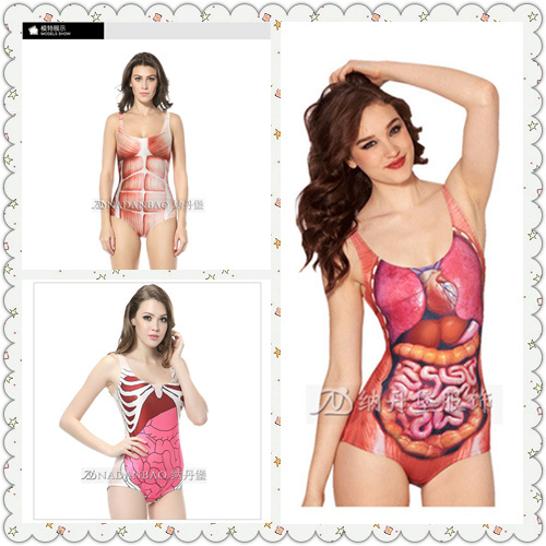 2015 summer style human organ and muscle monokini summer sexy high waist one piece swimsuit beach bathing suit for women Abc033(China (Mainland))