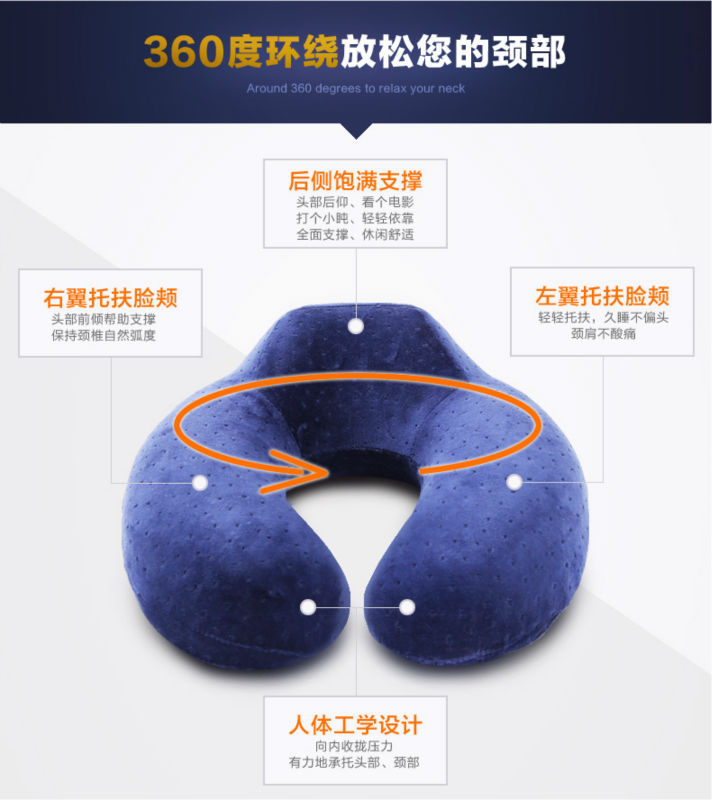 Free Shipping By Pos Memory Foam Pillow 5 Colors U Shaped Car Pillow Neck for Airplane(China (Mainland))