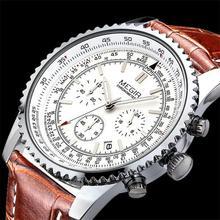 Megir marca de lujo correa de cuero Analog conocer hombres reloj del cuarzo del cronógrafo 6 manos trabajo 24 horas hombres reloj Relogio Masculino