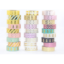 15 mm x 10 m Gold Foil Printing Washi Tape For Christmas And Halloween Card Decorative Paper Masking Tape 50 pieces tape set(China (Mainland))