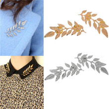 Buy Women Fashion Jewelry Shirt Brooch Pins Gold Silver Color Retro Leaves Collar Lapel Pins Accessories Free for $1.40 in AliExpress store
