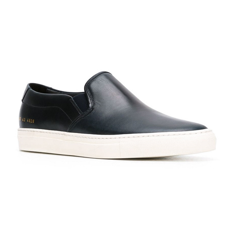 Фотография Brand Common Projects Men Women Shoes Spring Autumn Stella Black Genuine Leather Sheepskin Casual Shoes Uomini Mocassins Sapatos