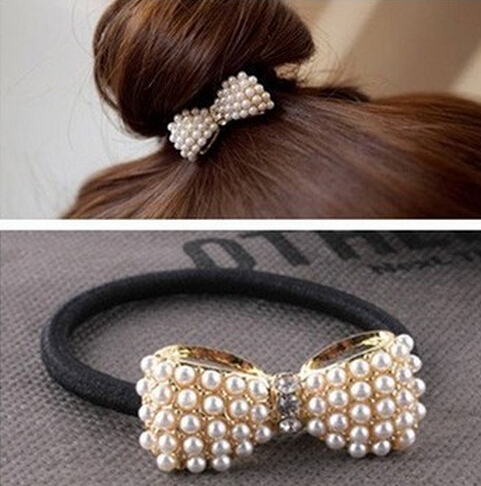 2016 New Style Fashion Lovely Pearl Bow Bowknot Hair Band Hair Clip Elastic Hair Accessories xth038(China (Mainland))