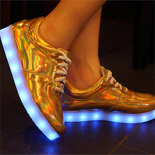 Fashion Unisex Shining Shoes With LED Laser Leather Surface Gold Silver USB Light Up Sneakers For Adults Plus Size 35-48 AY934(China (Mainland))