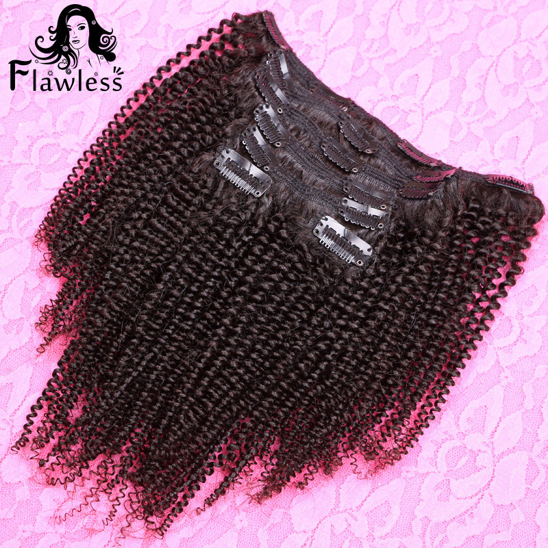 2016 New Coming 7Pcs/Set Black Color Virgin Brazilian Human Hair Afro Kinky Curly Clip In Human Hair Extensions For Black Woman(China (Mainland))