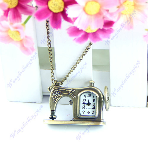 Hot Sell Retro Bass Metal Sewing Machine Pendant Necklace Chain Pocket Quartz Watch Gift Free Shipping<br><br>Aliexpress