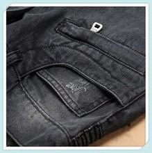 2014 Male Elastic Straight Trousers Promotion 100 Cotton Casual Denim Jeans Men Mid Waist Balm Pants