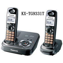 2 Handsets KX-TG9331T DECT 6.0 Expandable Digital Cordless Phone with Answering System, Black(China (Mainland))