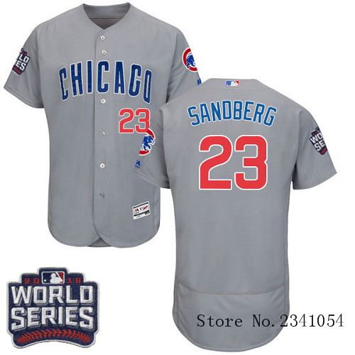 Men's Chicago Cubs #23 Ryne Sandberg Grey 2016 World Series Bound Flexbase Collection MLB Jersey(China (Mainland))