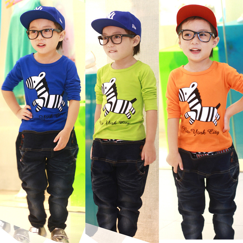 Retail 2-7year Kids Tops Cartoon Long Sleeves T shirt For Boys cheap Kids t shirts/Child Tops Tee/2014 Autumn Children T-Shirts(China (Mainland))