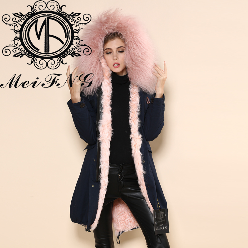 blue color real furs women man parka london jacket long style coat mr & mrs unisex Y002-2 - Guangzhou Armiar Fur Parkas Store -- Meifng Brand store