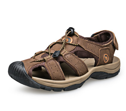 39-47 Plus Size Men Sandals Summer Shoes Casual Genuine Leather Sandals New 2015 High Quality Big Breathable Brown Khaki Green(China (Mainland))