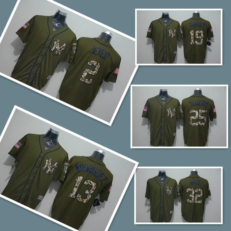 Mens 2 Derek Jeter 13 Alex Rodriguez #32 Jersey,100% Stitched Throwback Army green Baseball Jerseys(China (Mainland))