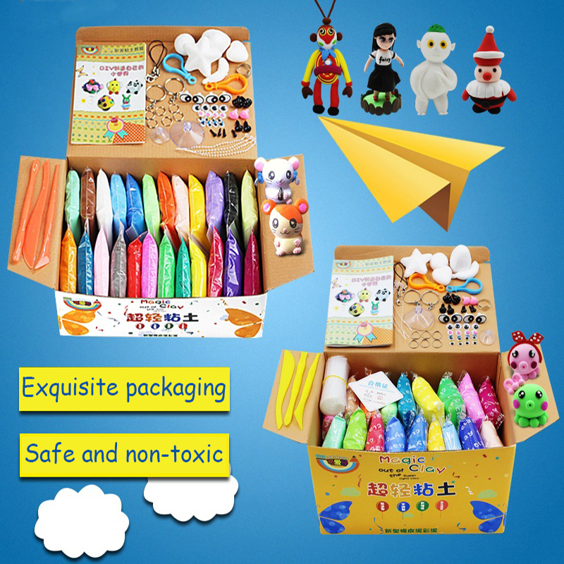 24 colors Super Light Modelling Clay Set Intelligent Plasticine with tools Air Dry Soft Children Playdough Special Safe DIY Toys(China (Mainland))