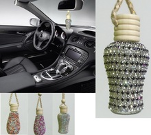 Beautiful car styling perfume pendant lady diamond car air freshener Car rear view mirror perfume bottle empty bottle(China (Mainland))