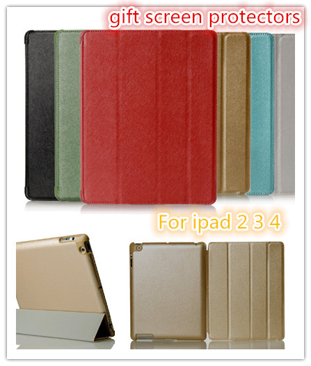 DHL 100PC/LOT ,Wholesale Case For iPad 2 3 4 Smart Leather Cover Case Silk Print  PU Protective Shell  .6 Color<br><br>Aliexpress