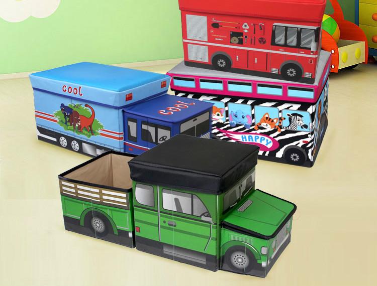 Car Shape Oraganizer Storage Box Big Space Multi-function Folding Toys Books Chest Storage Truck Home Decoration(China (Mainland))