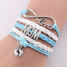 Best gift Infinity love mom & grandma heart feet love wins Rope charm Bracelets for women Wrap Leather bracelets bangles(China (Mainland))