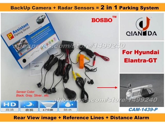 For Hyundai Elantra GT 2012-2014 - Car Parking Sensor+ Rear View Camera 2in1 Assistance System - 4 Radars / Visible Model<br><br>Aliexpress