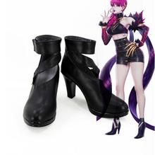 LOL Cosplay K/DA Cilt Agony erkek Embrace Evelynn Ayakkabı KDA Evelynn Cosplay Çizmeler Siyah Yüksek Topuk Çizmeler Yetişkin özel Yapılmış(China)