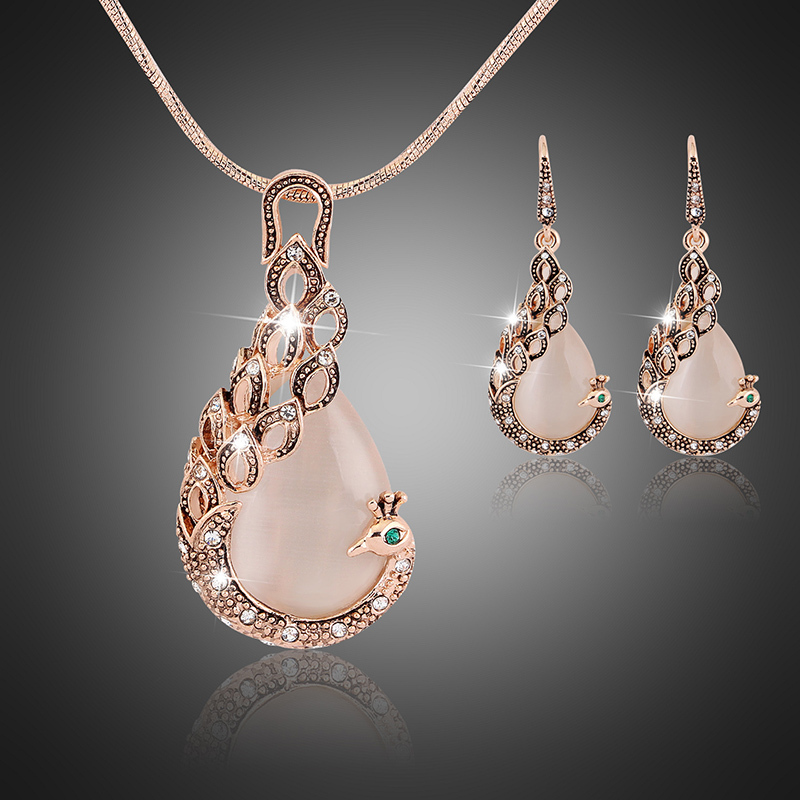 Fine Jewelry sets 2015 New Fashion KC rose Gold Filled opal Crystal Peacock Necklace Earring Wedding jewellery Set for women(China (Mainland))