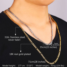 U7 18K Real Gold Plated Necklace Chain Men 18K Stamp Men Jewelry Wholesale 4 Sizes New