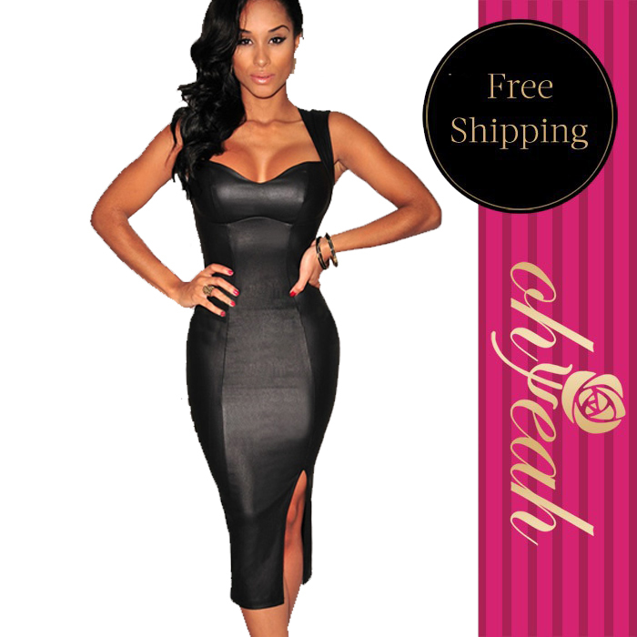 2015 Sexy party summer women dresses fashion solid black sleeveless slim club plus size(China (Mainland))