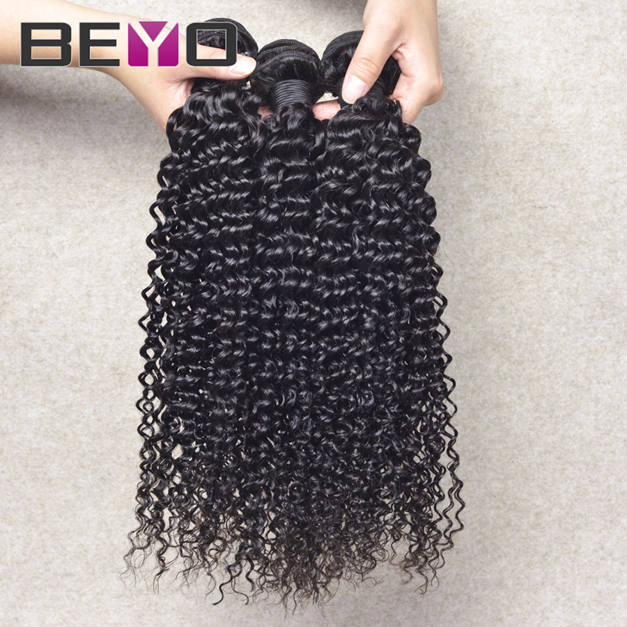 Beyo queen hair products virgin malaysian hair afro kinky curly hair 3 pcs lot malaysian curly hair free shipping natural black