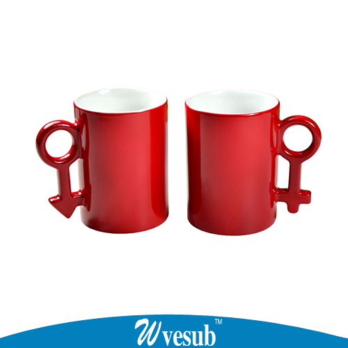 24 pair creative Couple Cup DIY gift cup print photos sublimation blank mugs magic changing color cups(China (Mainland))