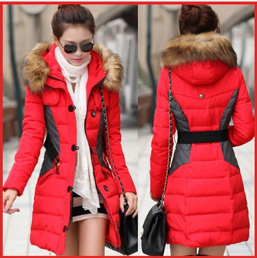 2015 New Brand Fashion Clothing Fur Hooded Zipper Long Style Women Warm Down Coat 4 Color Winter Parkas Coat(China (Mainland))