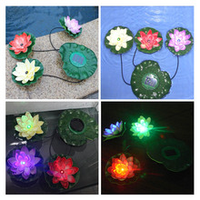 Practical Garden Pool Floating Lotus Solar Light Night Flower Lamp for Pond Fountain Decoration Solar Lamps(China (Mainland))