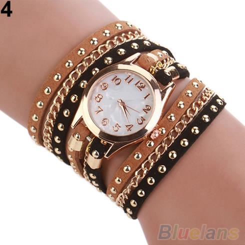 2015 New Colorful Multilayer Rivet Faux Leather Band Wrap Bracelet Wrist Watch Women 2CYZ(China (Mainland))