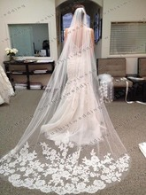 Vestido Noiva Casamento Hot Sale 2.6 Meter Long Tulle Wedding Accesories Lace Veil Bridal Veils White Wedding Veil With Bridal(China (Mainland))