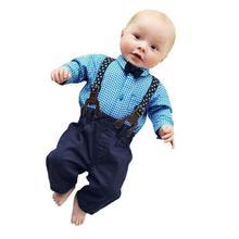 toddler boys clothing Baby Boys Pants Sets Plaid T-shirt Top Bib Pants Overall Outfits kids lowest price roupas infantis menino(China (Mainland))