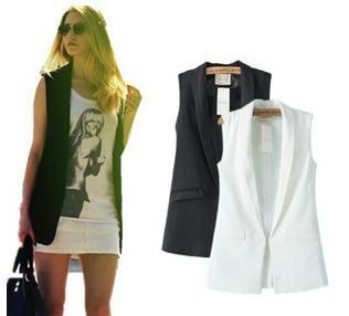 14092204 Hot Sale European brand white black Formal Long vest casaco feminino suit women blazers and jackets ladies(China (Mainland))