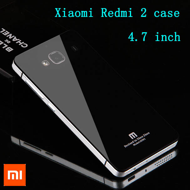 2015 New product Xiaomi Redmi 2 case luxury Tempered glass + aluminum frame back cover for Xiaomi redmi 2 /Hongmi 2 4.7 inch(China (Mainland))