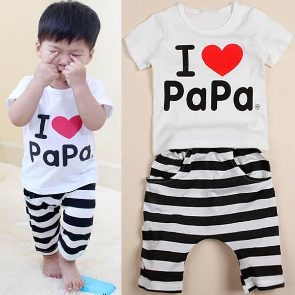 1Set I Love Papa Baby Boy Girl White T Shirt Stripe Short Pants Clothes Set - Baby 2T 3T 4T Clothes Set Free Shipping(China (Mainland))