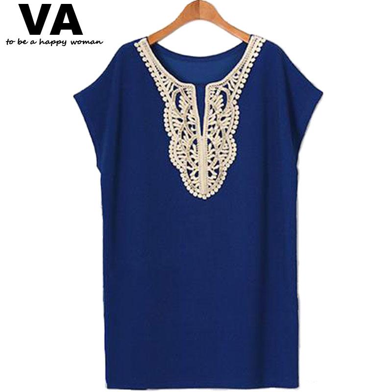 product Women Casual New Summer Dress 2014 Lace Dresses Vestidos O-Neck Sexy Mini Black&Blue Plus Size Woman Clothing 5XL 4XL XXXL