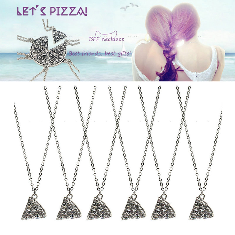 6Pcs/Set Slice Pizza Silver Charm Pendant Chain Necklace Best Friends Friendship Gifts(China (Mainland))