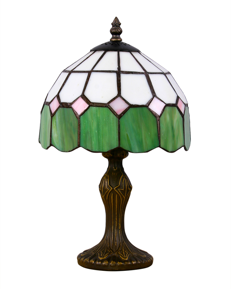 Mediterranean Style Green White Tiffany Table Lamp With Dome Shape Shade PU Free Shipping TR08091(China (Mainland))