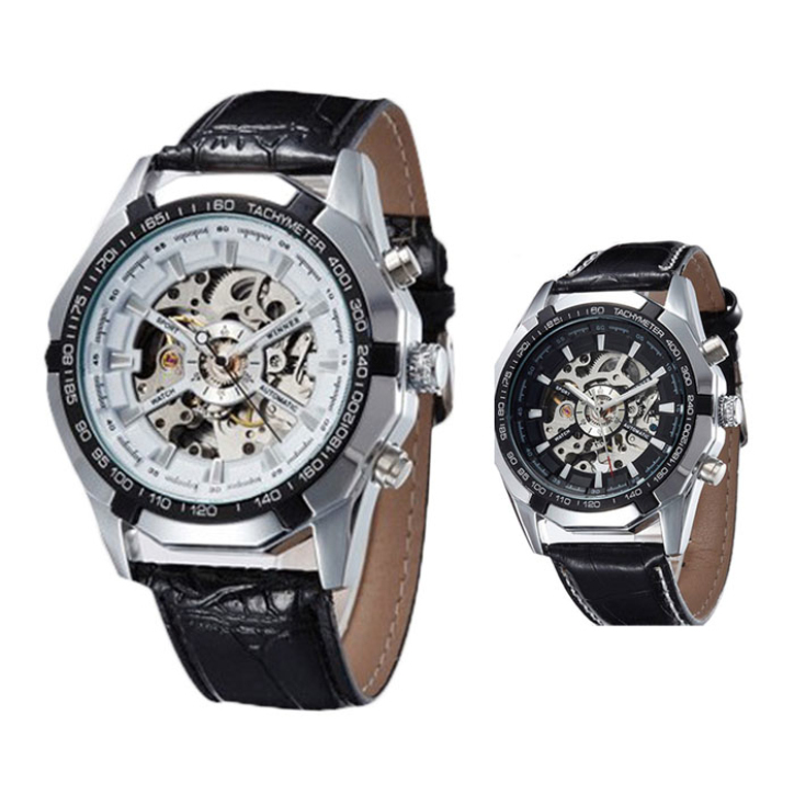 Hot Marketing Automatic Mechanical Watch Men Hollow Retro Machinery Present Steel Table June8(China (Mainland))
