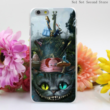 32QA Alice Wonderland Series Cheshire Cat White Hard Clear Transparent Cover iPhone 4 4S 5 5S SE 5c 6 6s Plus Phone Cases - No1 Not Second Store store