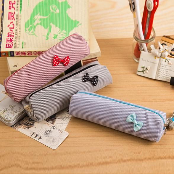 New Best Mini Exquisite Pinstripe Stripe Student's Schoolbag Pencil Case Bag Stationery(China (Mainland))