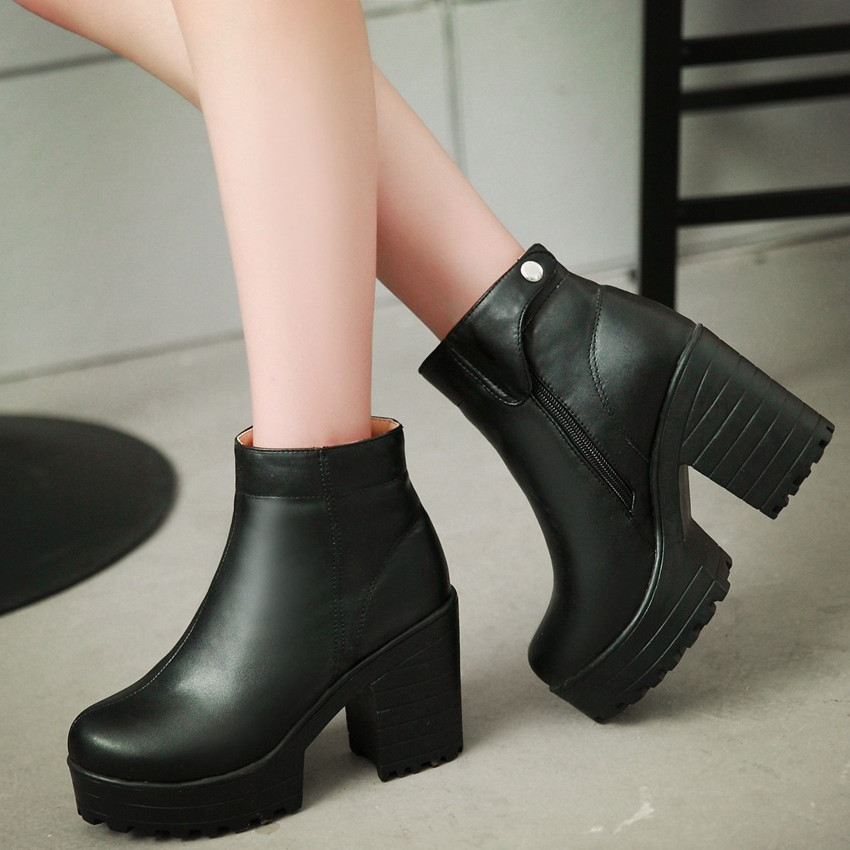 2016 autumn winter new arrival women thick high heels ankle boots sexy platform round toe solid fashion large size boots<br><br>Aliexpress