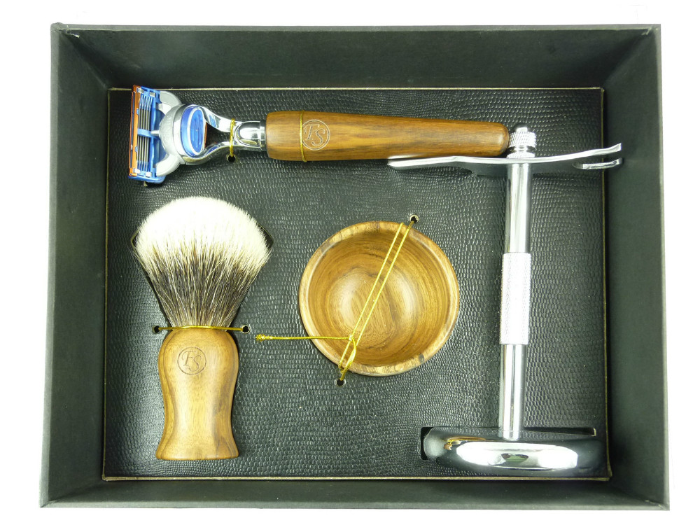 Frank Shaving Real Ebony Wood shaving set--Finest badger brush & razor& bowl& Chrome Stand Gift