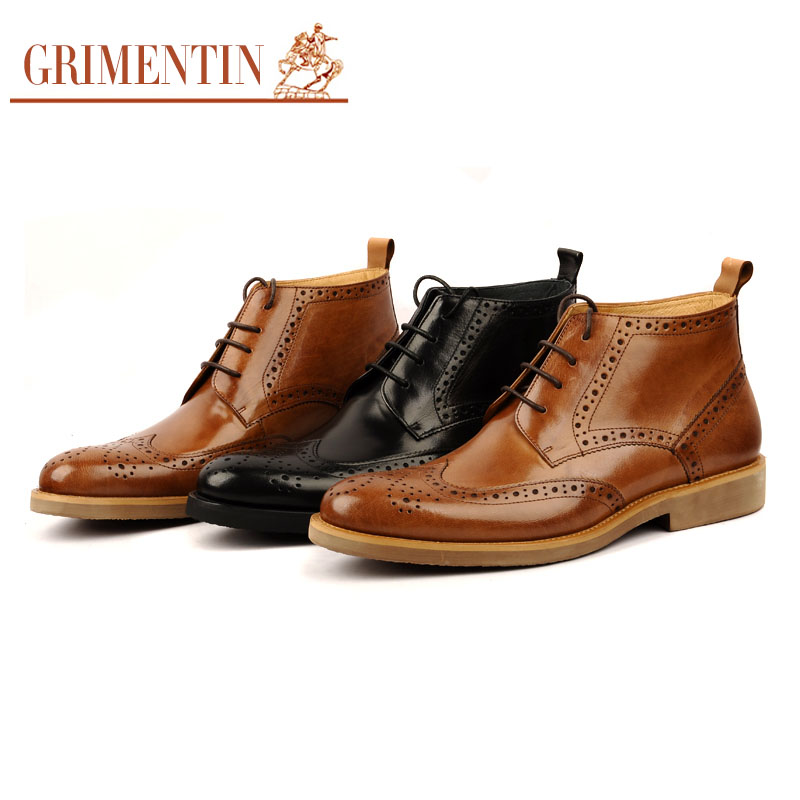 2016 Italian fashion carved formal mens ankle boots genuine leather comfortable luxury brand men shoes for casual business bo216(China (Mainland))