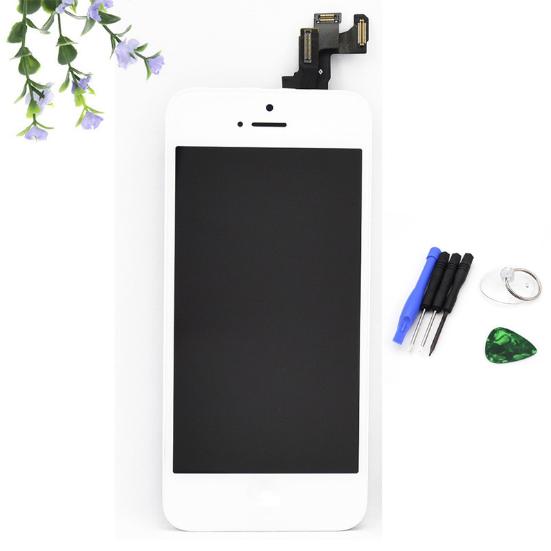 for Iphone 5S LCD display+Touch Screen Digitizer+Home Button+Front Camera+Frame full Assembly+tools. White ,free shipping